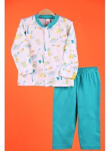 Breeze Erkek Bebek Pijama Takımı Çıtçıtlı Dinazor Desenli Yeşil Yeşil